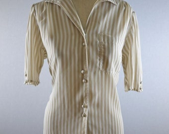 Boxy Tan and White Striped Short Sleeve Pocketed Blouse