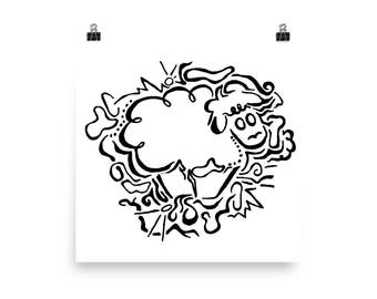 Sheep Illustration, Wall Poster, Black and White