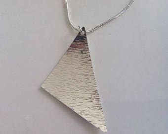 Sterling Silver Geometric Necklace, Triangular Pendant, Bark Textured Triangle Necklace, Contemporary  Modern Jewellery Gift