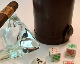 Leather Dice Cup with Five Hoyle Card Dice Cubes Poker | Gaming | Gambling | Pub Game