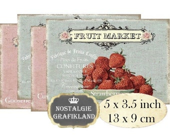Fruits Shabby Chic Strawberries Cherries Currants Gooseberries Instant Download digital collage sheet P181 confiture jam