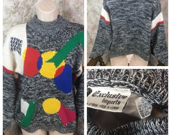 80s Rad geometric knit sweater vintage clothing 80s knit sweater fresh prince stranger things sweater 90s sweater 80s clothing 90s rad
