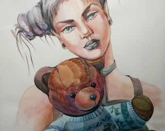 ORIGINAL watercolour painting,Portrait of women,Big picture,fantasy,Gothick style,girl with bum,Teddy bear,portrait of teenager,Art,gift
