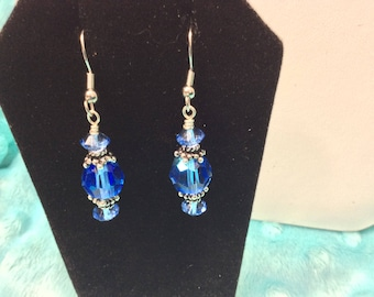 Earrings made with Vintage Sapphire Crystals