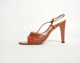 Vintage 1970s Heels - Caramel Twist Rope Leather Sandal Disco Open Toe High Heels - Van Eli - Made in Italy - Size 61/2