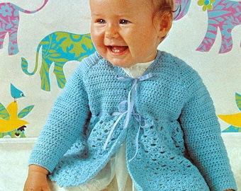 Vintage Crochet Pattern PDF  Baby Ribbon Tied Matinee Jacket  4ply  Chest 18 to 21 inches  Coat Cardigan