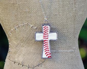 Real leather baseball seam large Cross Necklace or Keychain - baseball mom-believe-faith-sport keychain - personalize option + custom length