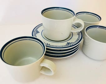 """Vintage (8) PC Mikasa """"Newport """" Cera Stone Coffee Cups and Saucers- Discontinued Pattern"""