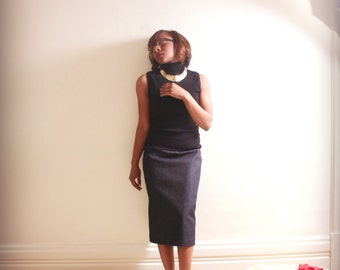Classic Long Denim Pencil Skirt 0 -24