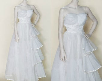 1950s Wedding Dress --- Vintage Strapless Princess Wedding Gown