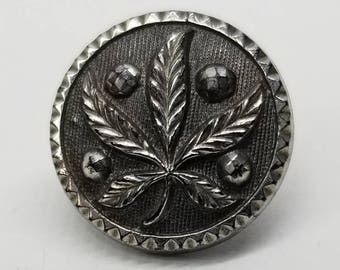 Cannabis Marijuana Leaf Plant Life Pictorial ~ Fabulous Antique Black Glass Picture Button with Silver Luster ~ just over 1/2 inch 13mm