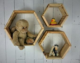 Rustic wooden shelf unit  Floating shelf  Hanging shelf  Wall shelf  Bathroom shelf  Display unit  Set of 3  Treated  Bees-waxed & oiled