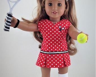 "18T Sportswear - 8 PIECES - Tennis Ensemble  for 18"" Dolls LIKE American Girl (R) Dolls  Lea, Tenney,  Luciena, Saige, Grace, Kit and Julie"