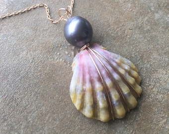 Smoky Moonrise Shell with Tahitian Pearl Drop Necklace