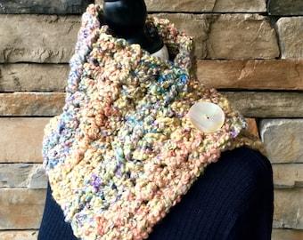 Multicolor Scarf, Pastel Neck Warmer, Crochet Scarf, Buttoned Neck Warmer