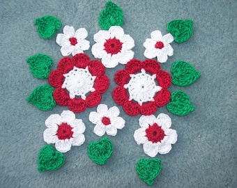 8 red and white crochet applique flowers with leaves -- 2412