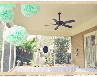 12 Cool Mint Tissue Paper Pom Poms, Mint Bridal Party, mint to be theme poms, bridal shower, baby shower, birthday party, mint party decor