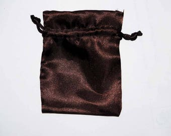 5 pockets bag goodies, Satin Brown or red 8 x 10 Cm