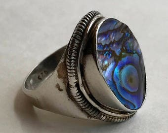 Handcrafted Abalone Solid Sterling Silver Ring with Rope Setting Marked 925