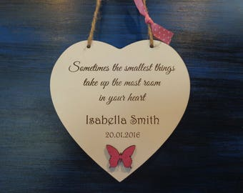 Personalised New Baby Printed Wooden Shabby Chic Hanging Heart - christening