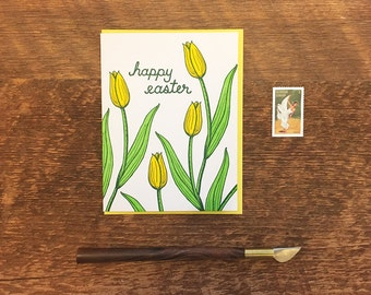 Happy Easter Tulips, Easter Card, Letterpress Greeting Card, Blank Inside