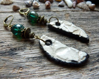 Earrings ceramic ivory and emerald green bead.