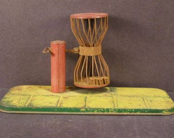Antique Tin Toy Chuck a Luck Casino Card Poker Chip Bird Cage Dice Gambling Game
