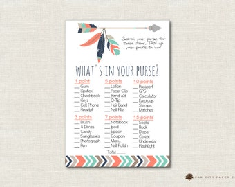 Tribal Whats in Your Purse Shower Game - Whats In Your Purse Baby Shower Game, Tribal Baby Shower Games, Tribal, Boho, Mint - Printable, DIY