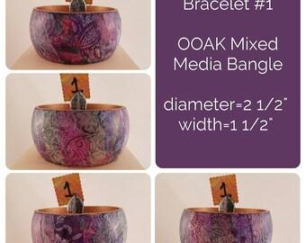 OOAK Art Bracelet #1 - Mixed Media Bangle