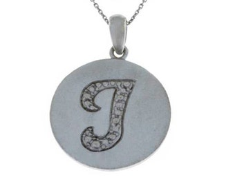 Initial Letter J Pendant .925 Sterling Silver Rhodium Finish
