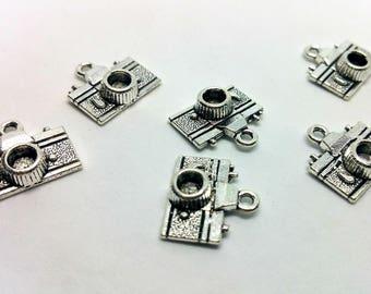 x 1 charm - camera photography - silver metal - Reflex Scrapbooking customization