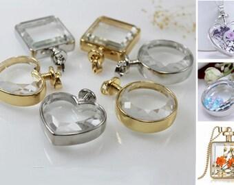 1 PC Glass Locket Pendant ,Locket pendant ,Wish lockets, Memory Lockets for necklace,Charm locket,Good Luck necklace