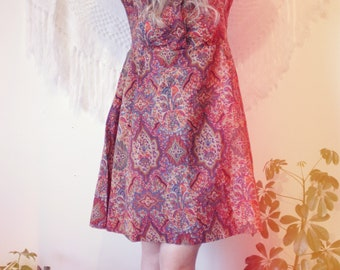 1960s pink paisley psychedelic A-line tea dress M