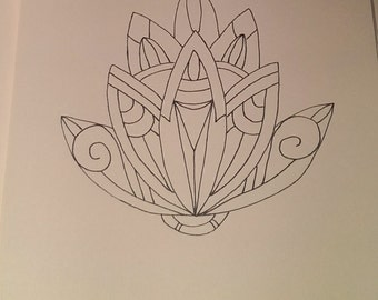 Line Art Flower Drawing : Flower drawing etsy