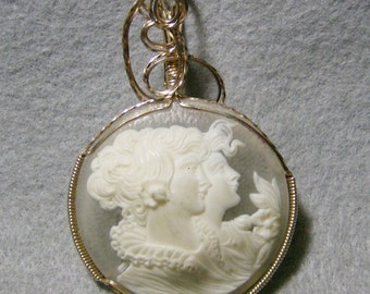 Stunning Cameo Pendant - Handmade Gorgeous White Double in 14k Gold Filled Wire by JewelryArtistry - P745
