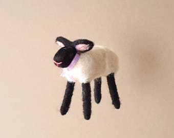 Black and white sheep ornament, needle felted rustic tree decor, lamb figurine, animal holiday decor, farm themed