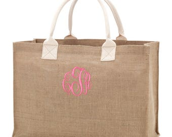 Burlap tote bag, Handbags, Monogram tote bag, Personalized tote, Monogram purse, Burlap purse, Initial tote bag, Bridemaid gift, Burlap bag