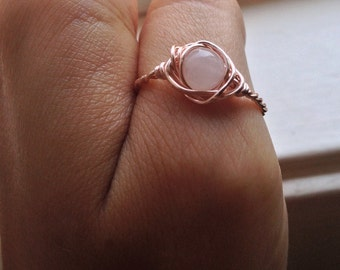 Rose Quartz Wirewrapped Ring with Rose Copper - Any Size - Crystal Healing Spiritual Jewelry - Passion, Creativity, Crystal Band Ring