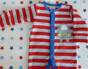 Beep Beep Car applique sleepsuit/bodysuit/onesie Sizes 0-1, 3-6, 6-9, 9-12, 12-18mths