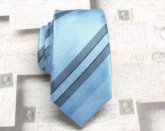 Mens Ties Skinny Tie. Blue Stripes Skinny Necktie