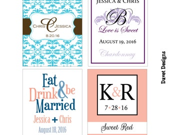 70 - 2x2.67 inch Custom Wedding Rectangle or Mini Wine Bottle Labels - hundreds of designs - change designs to any color, wording etc