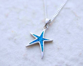 sterling blue opal starfish pendant necklace, sterling Starfish charm Necklace. Starfish Jewelry. Silver Lab opal Starfish. Choose chain