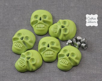 Skull Nail Studs Heads - Neon Green - 6 pcs -  Screw Back - fashion halloween