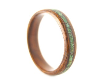 Rosewood with Malachite Inlay Bentwood Ring - Rustic Rosewood Malachite Wedding Band - Handmade in Byron Bay - Handmade Wedding Ring