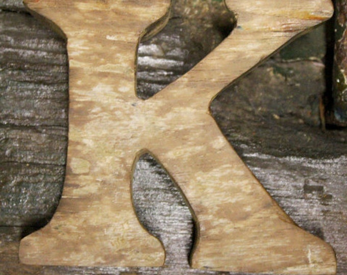 Beach Decor Wooden letter K Vintage Style Nautical by SEASTYLE