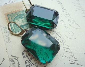 """emerald green earrings, green statement earrings, chunky green earrings, Regency, Georgian jewelry, Downton Abbey jewelry. """"Regality"""""""