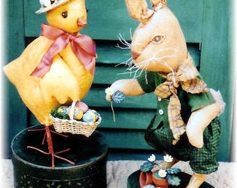 Instant Download Primitive Folk Art Craft Sewing E-Pattern Easter Chick and Hare Dolls Spring Decor