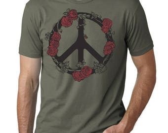 Peace Sign T-shirt with Roses, Olive Green. Hippie tee, Gift for him