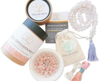 Mala Necklace/Rose Quartz Mala/Mala Beads/Make your Own Mala Necklace/108 mala/Mala beads/Pink Mala - Love & Compassion Rose Quartz Mala Kit
