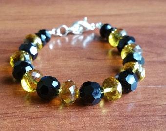 Black and Amber Austrian Crystal Bracelet